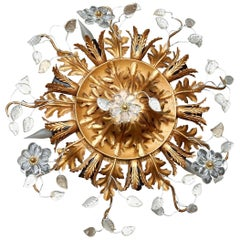 1970 Ceiling Light with Flowers and Leaves in the Style Maison Baguès Nine Bulbs
