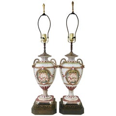 19th Century Royal Vienna Style Porcelain Hand-Painted Lamp Pair