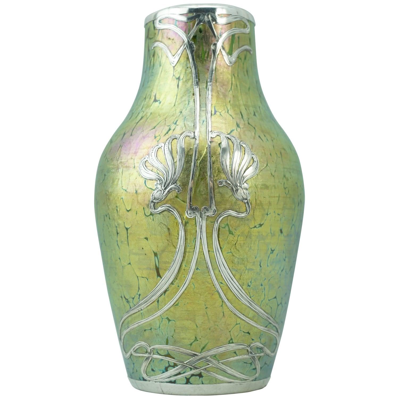 Loetz glass vases 69 for sale at 1stdibs loetz crete papillon silver overlay art nouveau vase reviewsmspy
