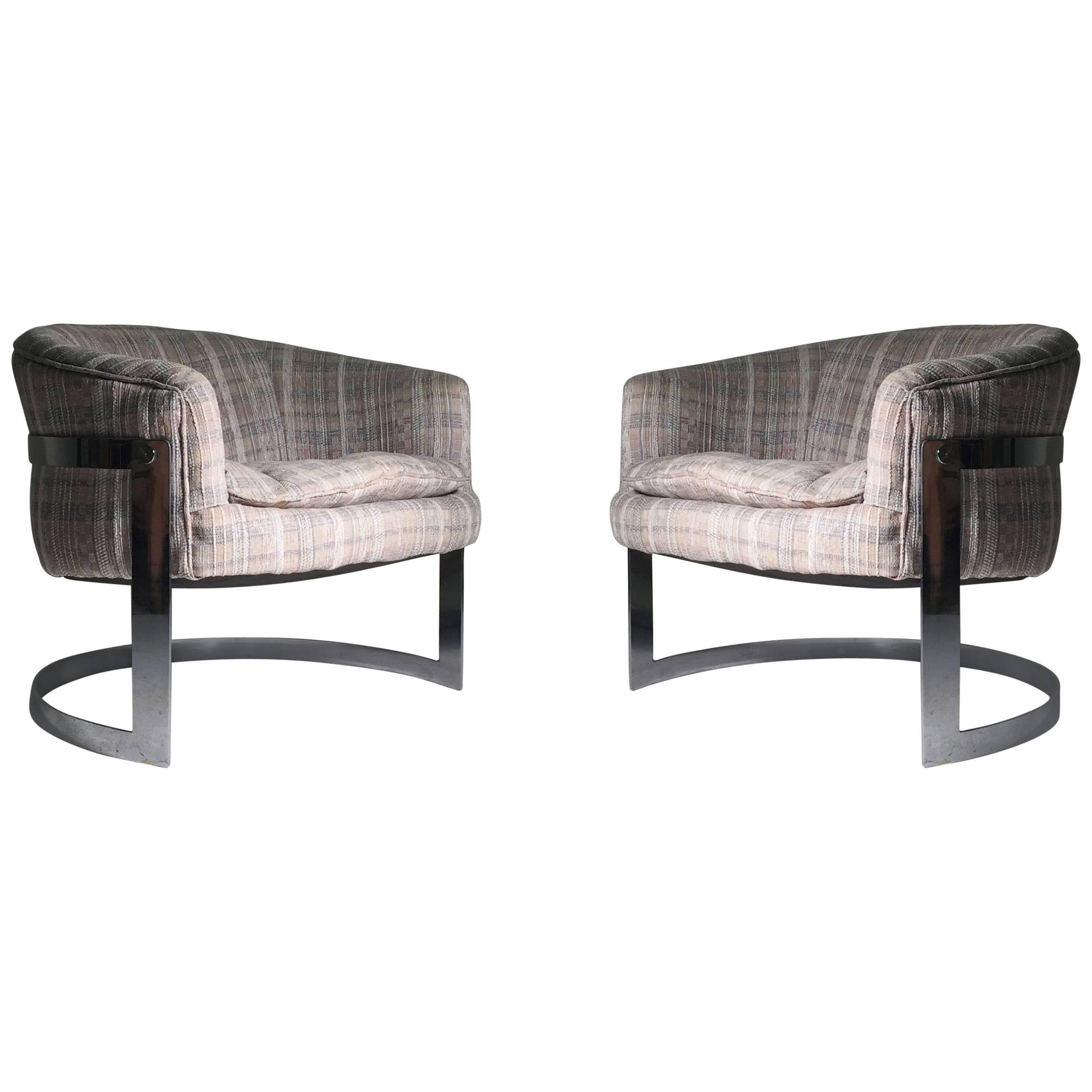 Free Pair Of Milo Baughman Chrome U Form Barrel Back Club Chairs With U Form
