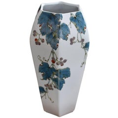Japanese Kutani Porcelain Hexagonal Vase by Yoshiaki Yamada