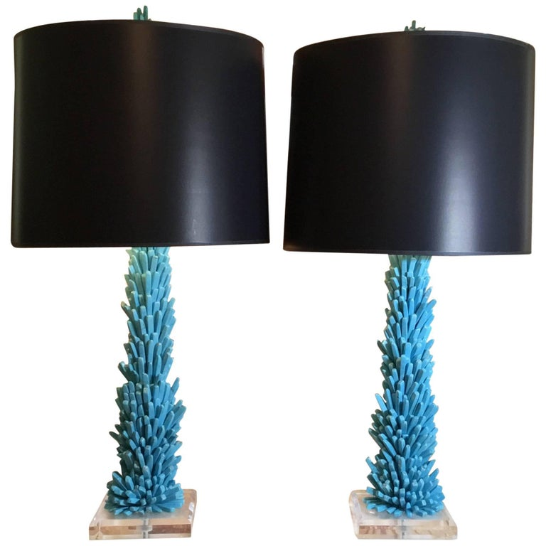Pair of One of a Kind Turquoise Stone Lamps For Sale