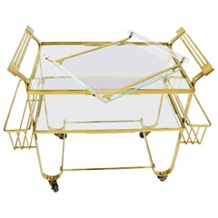 Solid Brass and Glass Mid-Century Modern Bar Cart