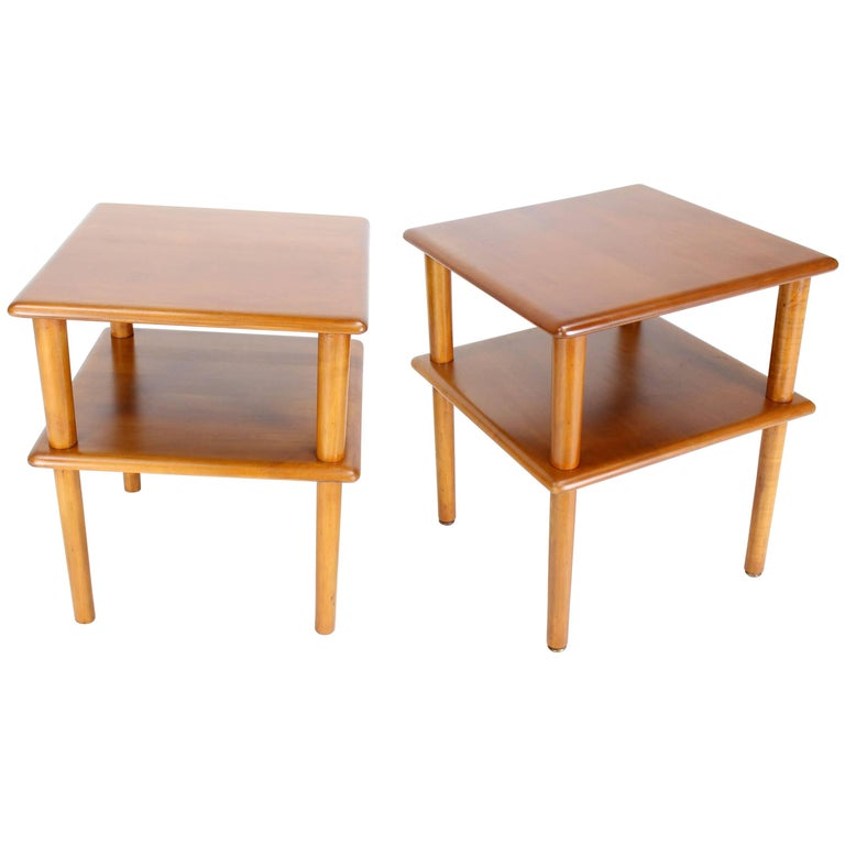 Pair of Square Solid Maple Two-Tier End Side Tables