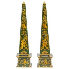 Pair of Asian Style Painted Tin Obelisks
