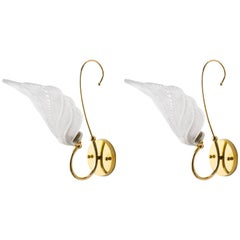 Glass Leaf and Brass Sconces