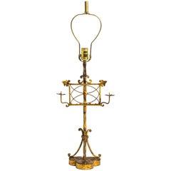Gilt Metal Italian Music Stand Table Lamp
