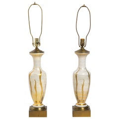 Pair Hand-Painted Brass and Glass Table Lamps