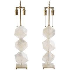 Rock Crystal Quartz Cube Lamps - Eon Collection