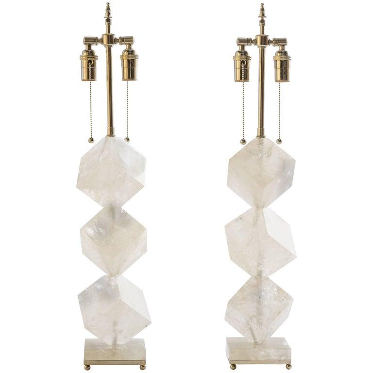 Rock Crystal Quartz Cube Lamps - Eon Collection For Sale