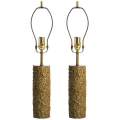 Pair of French Textured Bronze Lamps