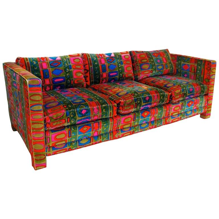 Tuxedo Sofa in Jack Lenor Larsen's Caravan Velvet