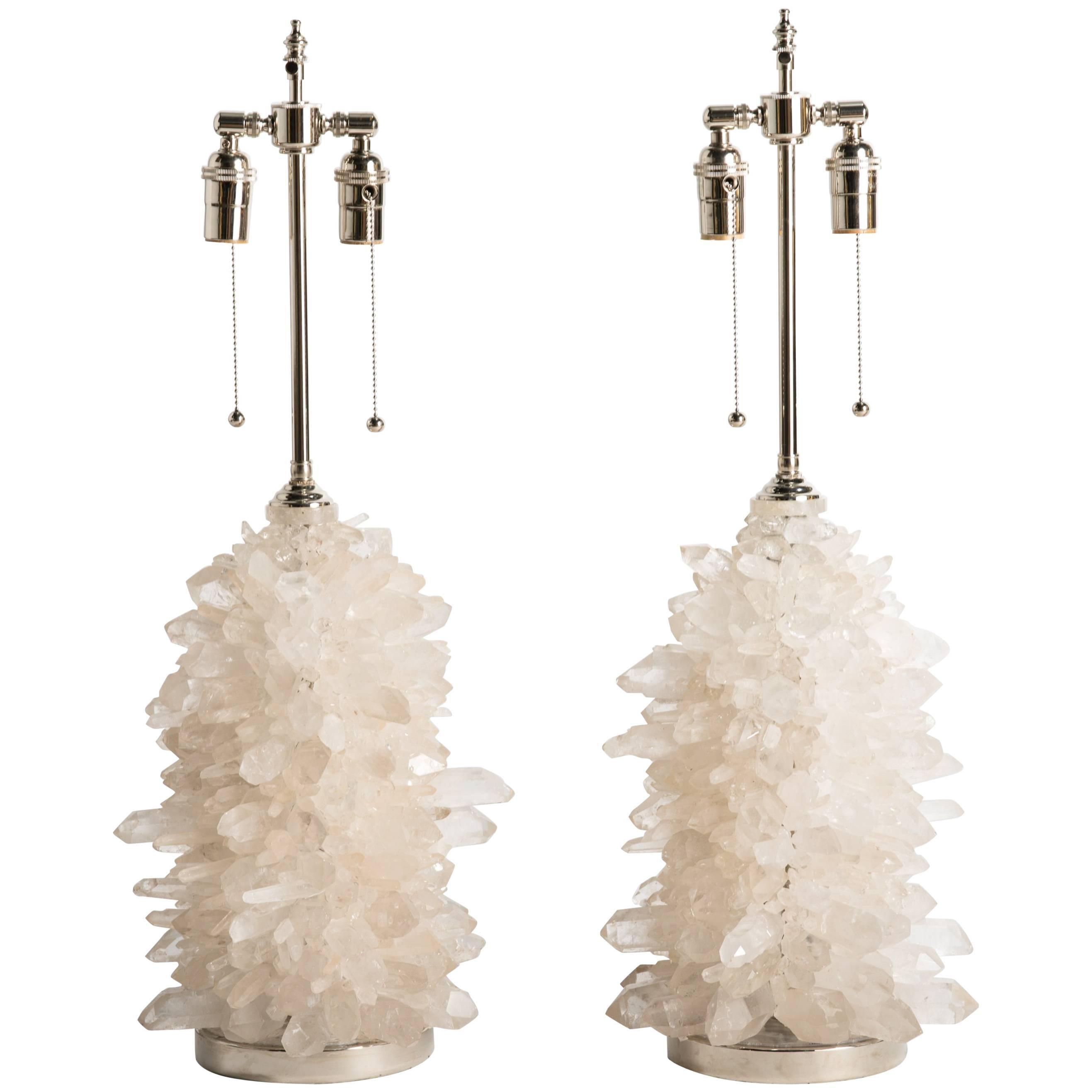 Rock Crystal Cluster Quartz Lamps