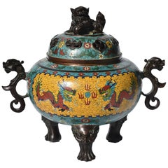 Huge Cloisonné Incense Burner with Dragon and Foo Dog