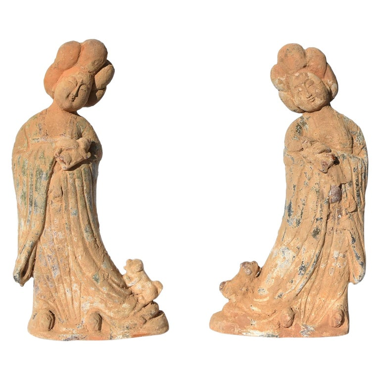 Pair of Tang Dynasty Style Terracotta Court Ladies