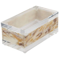 Mid-Century Modern Lucite Decorative Box Crystal Clear and Faux Marble
