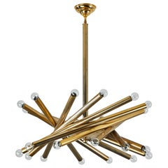 Multi-Tube Brass Chandelier by Stilnovo