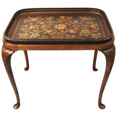 Fine English Papier Mâché Black Painted and Parcel-Gilt Tray on Mahogany Stand