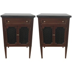 Pair of Marble-Top Directoire Brass-Mounted End Tables or Nightstands
