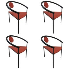 Set of Four Tripod Memphis Dining Chairs in the Manner of Michele de Lucchi