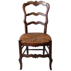 Early 1900s French Rush Seat Chair Beech Wood