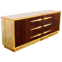 Mr. & Mrs. Tiger Maple Dressers by Donald Deskey