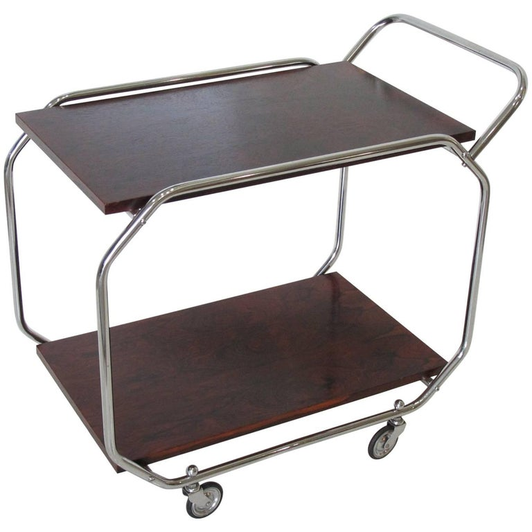 Bauhaus Art Deco Modernist Rolling Bar Cart in Chrome and Rosewood, circa 1930s For Sale