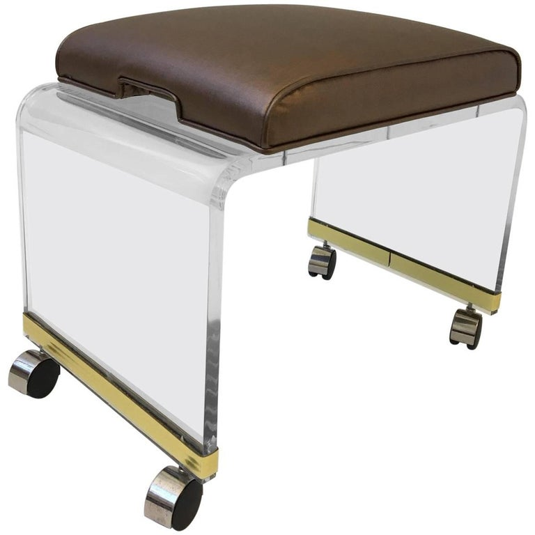 Acrylic Waterfall Vanity Stool On Casters By Hill Manufacturing Corp For Sale At 1stdibs