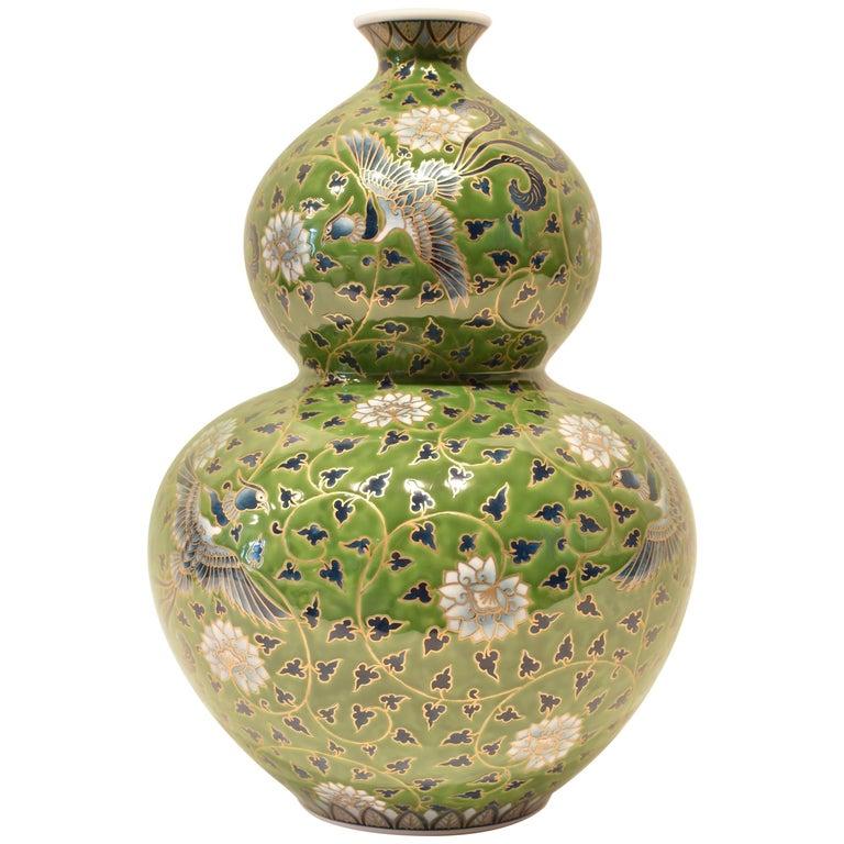 Japanese Large Hand-Painted Gilded Green Porcelain Vase by Master Artist