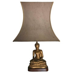 Gilded Tall Metal French, 1970s Buddha Lamp Original Shade