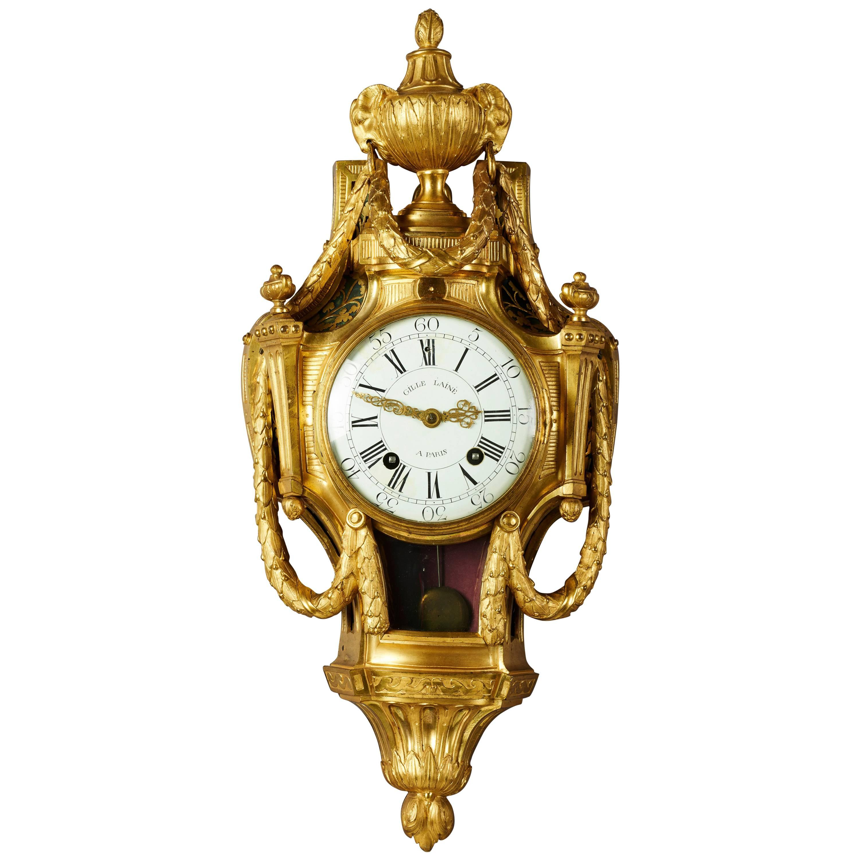 Late 18th Century, French Louis XVI Neoclassical Ormolu Gilt Bronze Cartel Clock