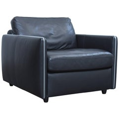 Musterring Designer Leather Armchair Black Leather One-Seat Couch Modern