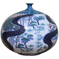 Large Japanese Hand-Painted Decorative Porcelain Vase by Master Artist