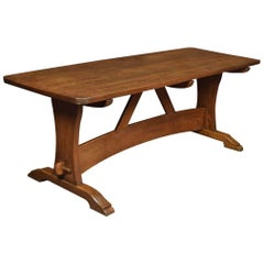 Large Oak Plank Top Refectory Table