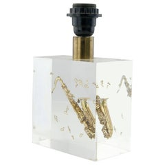 Resin Table Lamp with an Inclusion of a Saxophone