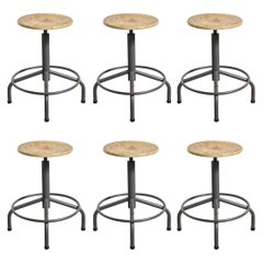Set of Six Friso Kramer Adjustable Height Industrial Stools