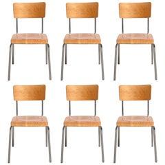 Set of Six Tubax Stacking Chrome Tubular Beech Chairs