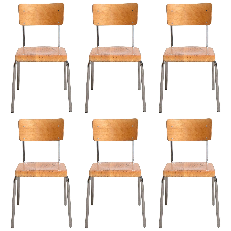 Set Of Six Tubax Stacking Chrome Tubular Beech Chairs 1
