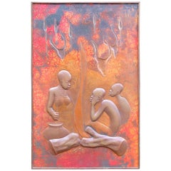 Large Signed Africana Metal Panel by Henge