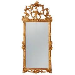 Danish 18th Century Giltwood Rococo Mirror