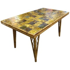 Beautiful Audoux Minet Ceramic and Wicker Table circa 1960