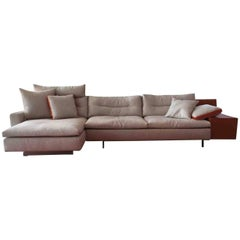 """Sofa """"Grantorino"""" by Manufacturer Poltrona Frau in Aluminum, Leather and Fabric"""