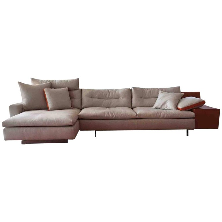 "Sofa ""Grantorino"" by Manufacturer Poltrona Frau in Aluminum, Leather and Fabric"
