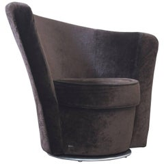 Bretz Eve's Island Designer Swivel Chair Brown Velvet One Seat Couch Modern