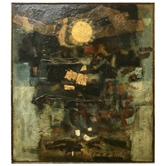 """Large Modern Abstract Oil Painting on Canvas """"Night Sun"""" by Layman Jones, 1962"""
