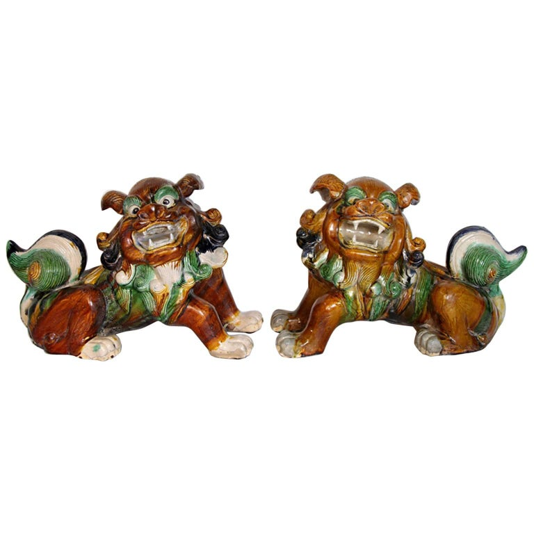 Pair of Mid-Century Sancai Glazed Foo Dogs