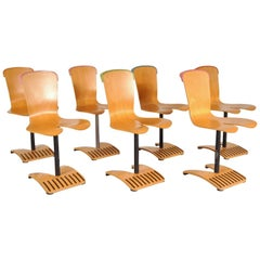 Rare Set of Seven Stacking Chairs by Ruud Jan Kokke, Netherlands, 1980