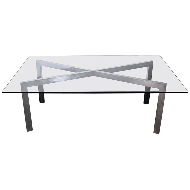 Mid-Century Modern Chrome X-Base Dining Table or Desk