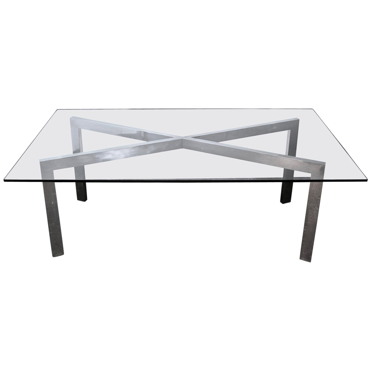 Mid-Century Modern Chrome X-Base Dining Table or Desk