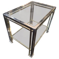Romeo Rega Brass and Chrome Side Table